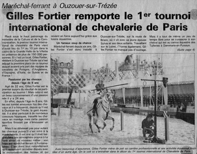 Article de Presse Tournoi Chevalerie La Vilette